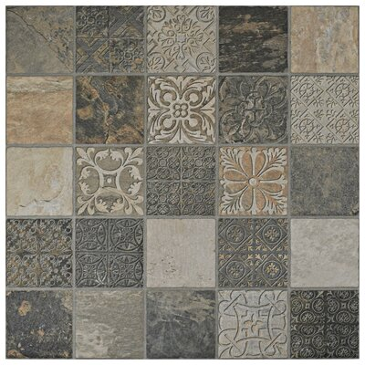 Deco Maximiliano 17.5 x 17.5 Porcelain Field Tile in Gray/Brown