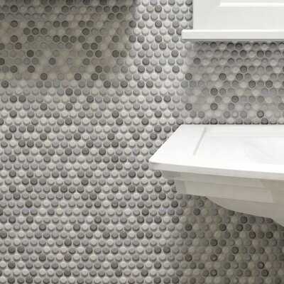 Tucana 0.59 x 0.59 Porcelain Mosaic Tile in Gray/White