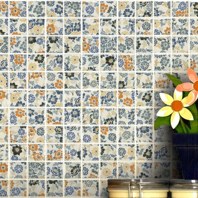 Summer Flora 0.75 x 0.75 Porcelain Mosaic Tile in Blue/Yellow