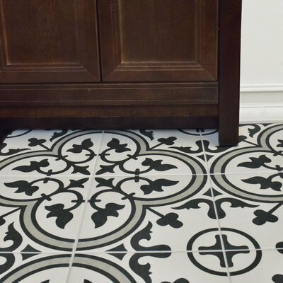 Artea 9.75 x 9.75 Porcelain Field Tile in Dark Gray/White