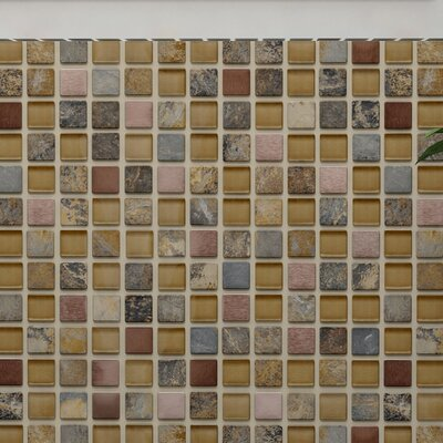 Abbey 0.88 x 0.88 Glass/Natural Stone/Metal Mosaic Tile in Brown