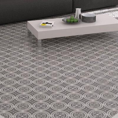 Annata 9.75 x 9.75 Porcelain Field Tile in White/Dark Gray