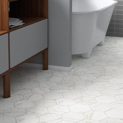 Karra Carrara 7 x 8 Porcelain Field Tile in White/Gray