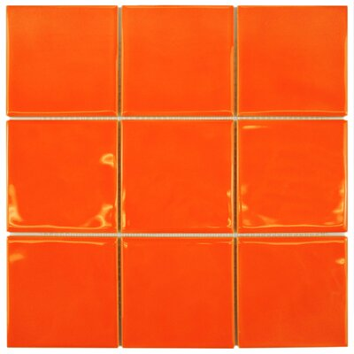 Contour Square 3.75 x 3.75 Ceramic Field Tile in Orange