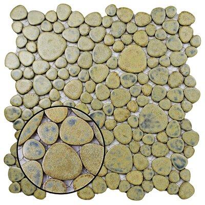 Boulder 11 x 11 Porcelain Mosaic Tile in Green Moss