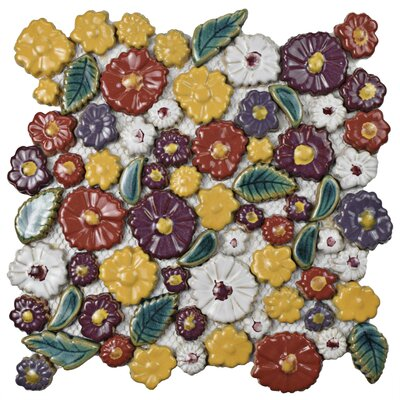 Floral Random Sized Ceramic Mosaic Tile in Red/Yellow