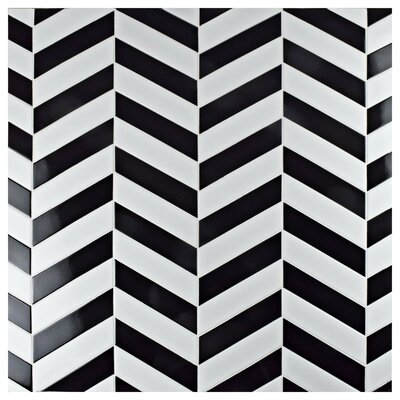 Retro Soho Chevron 1.75 x 7 Porcelain Field Tile in Black