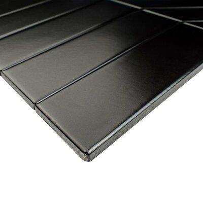 Retro Soho Chevron 1.75 x 7 Porcelain Field Tile in Black