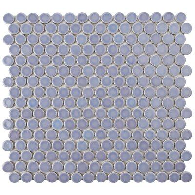 Penny 0.8 x 0.8 Porcelain Mosaic Tile in Purple/Blue