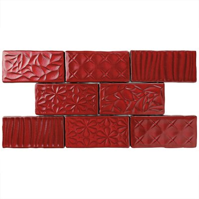 Antiqua Sensations 3 x 6 Ceramic Subway Tile in Red Moon