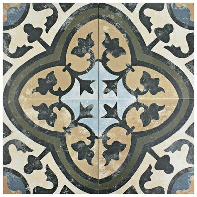Conceptum 9.75 x 9.75 Porcelain Field Tile in Green/Beige