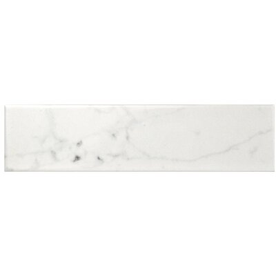 Karra Carrara 3 x 12 Ceramic Subway Tile in Glossy White/Gray