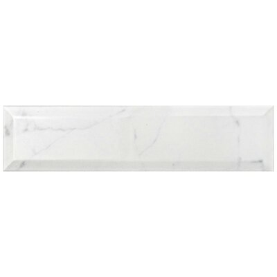 Karra Carrara 3 x 12 Ceramic Subway Tile in Glossy Metro White/Gray