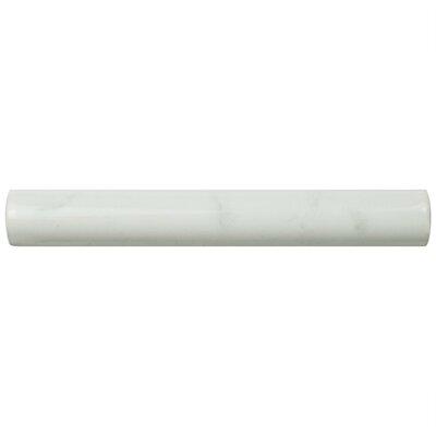 Karra Carrara 0.75 x 6 Ceramic Quarter Round Tile Trim in White/Gray