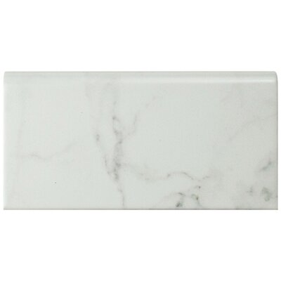 Karra Carrara 3 x 6 Ceramic Bullnose Tile Trim in White/Gray