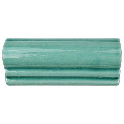 Frisia Moldura 5.13 x 2.13 Ceramic Counter Rail Tile Trim in Aqua