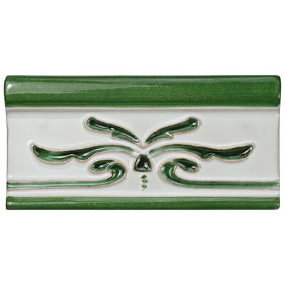 Frisia Cenefa Evoli 2.63 x 5.13 Ceramic Counter Rail Tile Trim in White/Green