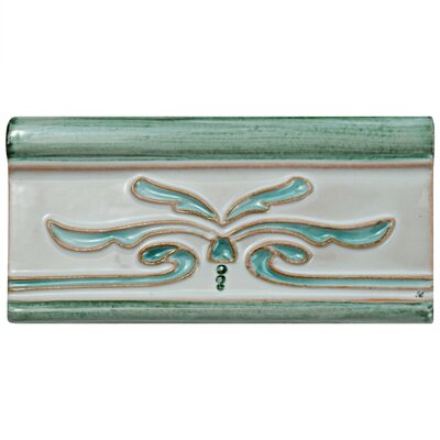 Frisia Cenefa Evoli 2.63 x 5.13 Ceramic Counter Rail Tile Trim in White/Aqua