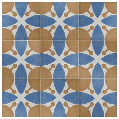 Revive 7.75 x 7.75 Ceramic Field Tile in Orange/Navy