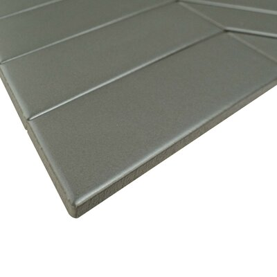 Retro Soho Chevron 1.75 x 7 Porcelain Field Tile in Gray
