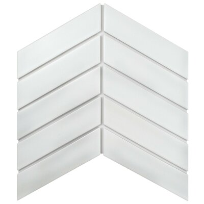 Retro Soho Chevron 1.75 x 7 Porcelain Field Tile in White