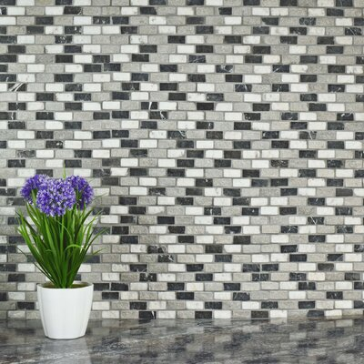 Grizelda 0.5 x 1.25 Natural Stone Mosaic Tile in Charcoal