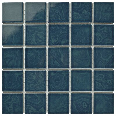 Utopia 2 x 2 Porcelain Mosaic Tile in Glazed Coral Blue