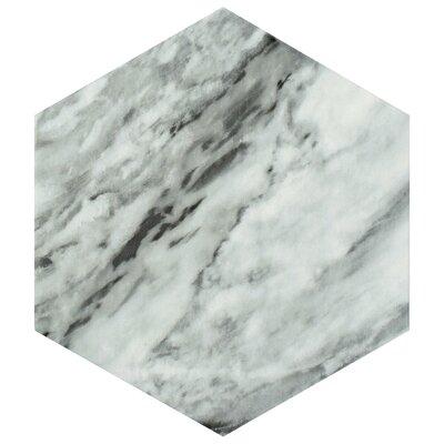 Karra Hexagon 7 x 8 Porcelain Field Tile in Gray/White
