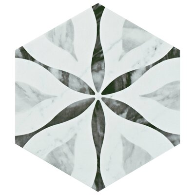 Karra Hexagon 7 x 8 Porcelain Field Tile in White/Black