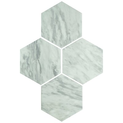 Karra Hexagon 7 x 8 Porcelain Field Tile in White/Gray