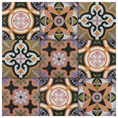 Helen 9.75 x 9.75 Porcelain Field Tile in Black/Orange