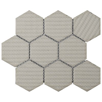 Retro Super Hex 3.73 x 4.25 Porcelain Mosaic Tile in Glossy Black