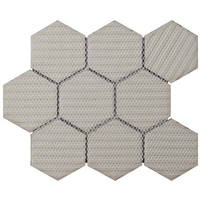 Retro Super Hex 3.73 x 4.25 Porcelain Mosaic Tile in Glossy White