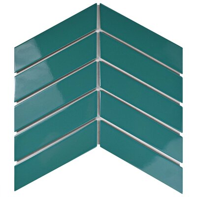 Retro Soho Chevron 1.75 x 7 Porcelain Subway Tile in Glossy Teal