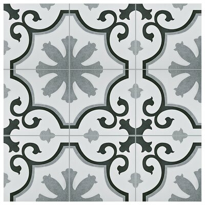 Nouvelle 12.38 x 12.38 Ceramic Field Tile in Gray/White