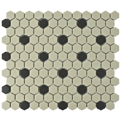 New York Hexagon 0.875 x 0.875 Porcelain Unglazed Mosaic Tile in Antique White/Black