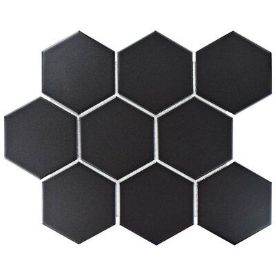 Retro Super Hex 3.73 x 4.25 Porcelain Mosaic Field Tile in Matte Black