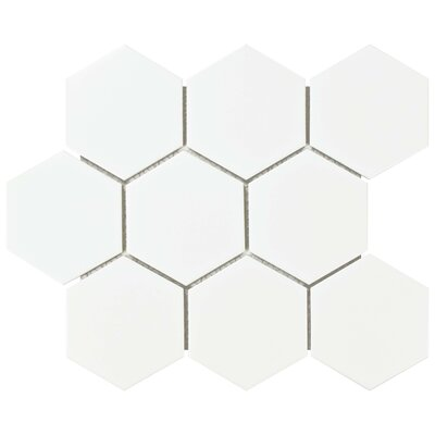 Retro Super Hex 3.73 x 4.25 Porcelain Mosaic Field Tile in Matte White