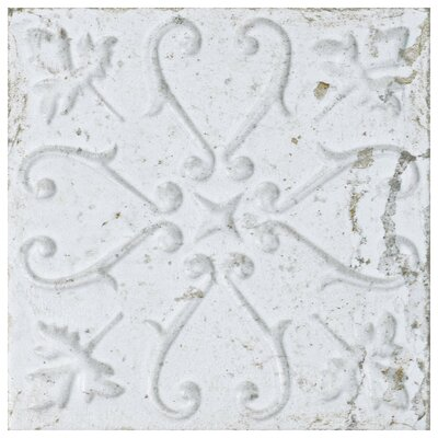 Aevit 7.88 x 7.88 Ceramic Field Tile in White Ornato