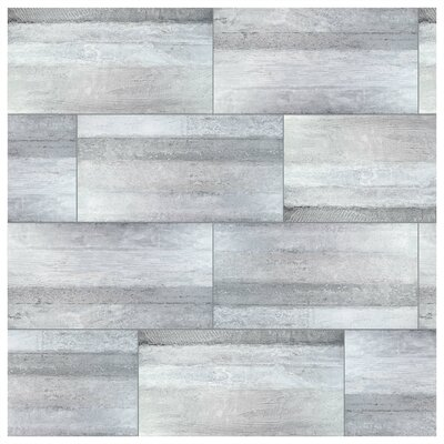 Aetolia Grand 17.63 x 35.38 Porcelain Field Tile in Gray