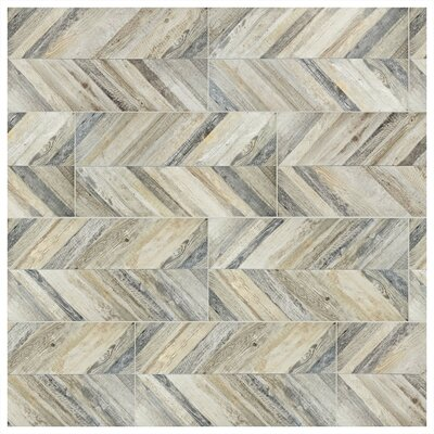 Aetolia Chevron 17.63 x 35.38 Porcelain Field Tile in Madera
