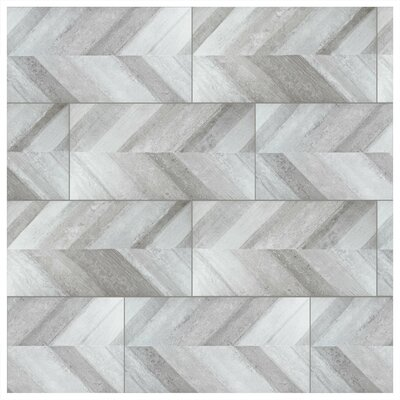 Aetolia Chevron 17.63 x 35.38 Porcelain Field Tile in Gris