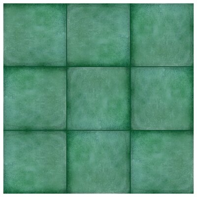 Symbals 14.13 x 14.13 Porcelain Leather Look Tile in Teal