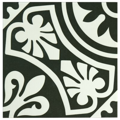 Seni Tiena 9.75 x 9.75 Porcelain Patterned Tile in Black/White