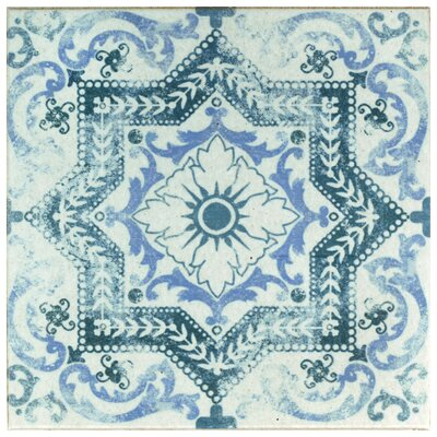 Shale 12.75 x 12.75 Ceramic Field Tile in White/Blue