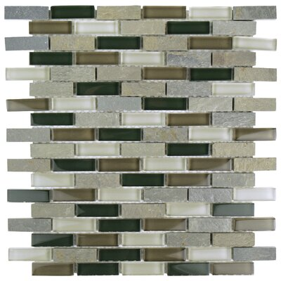 Sierra 0.58 x 1.88 Glass and Natural Stone Mosaic Tile in Black/Gray