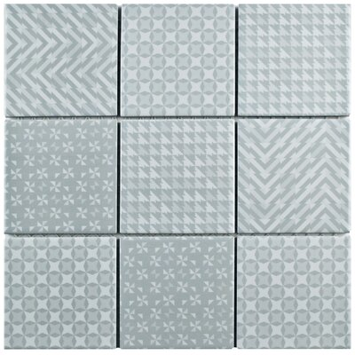 Geogloss 3.88 x 3.88 Porcelain Mosaic Tile in Gray