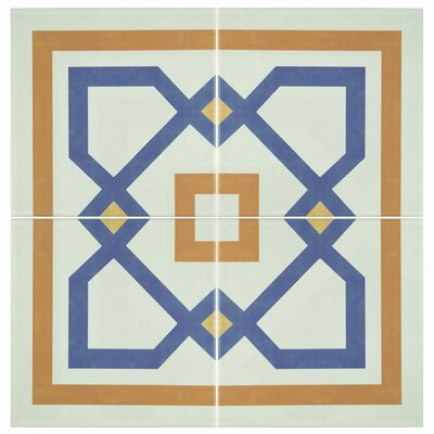 Revive 7.75 x 7.75 Ceramic Field Tile in Blue/Orange