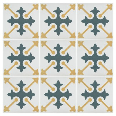Revive 7.75 x 7.75 Ceramic Field Tile in Blue/Yellow