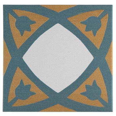 Revive 7.75 x 7.75 Ceramic Field Tile in Blue/Orange